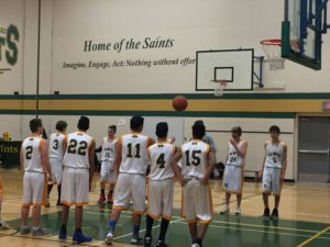 Junior Boys basketball team warming up for a game last week against LFMSS.