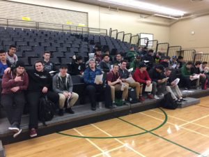 Junior and Senior Rugby athletes gather for a meeting with Mr. Howlett on Friday, at lunch.