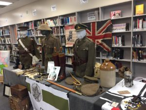A display of clothing and other artifacts from WW I. Thanks to Ms. Neuscheler for organizing this event!