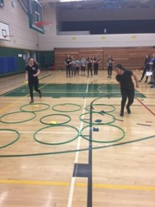 Gr 9-12 HIgh performance PE Girls were leading their own minor games! (photo by Ms. Ellis)