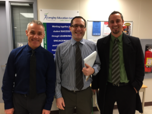 Mr. Palichuk, Mr. Moino, and Mr. Hantke, courtesy of a photo by Mr. Stare, Principal of LEC.